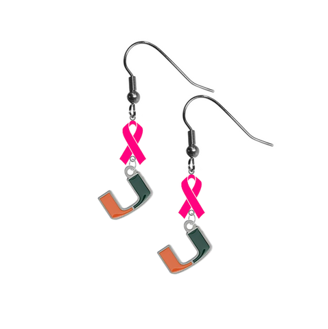 Miami Hurricanes Breast Cancer Awareness Hot Pink Ribbon Dangle Earrings