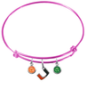 Miami Hurricanes PINK Expandable Wire Bangle Charm Bracelet