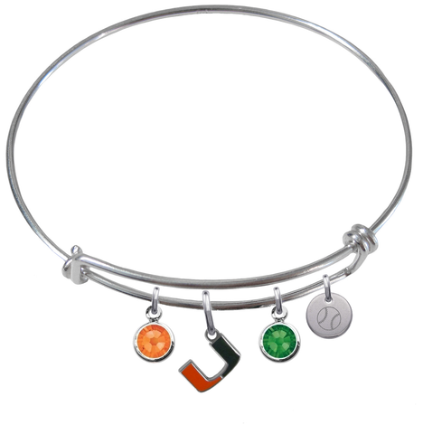 Miami Hurricanes Baseball Expandable Wire Bangle Charm Bracelet