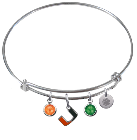 Miami Hurricanes Basketball Expandable Wire Bangle Charm Bracelet