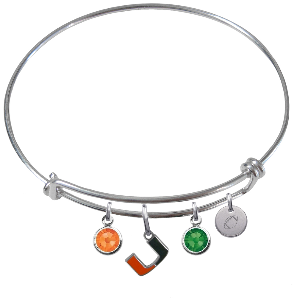 Miami Hurricanes Football Expandable Wire Bangle Charm Bracelet