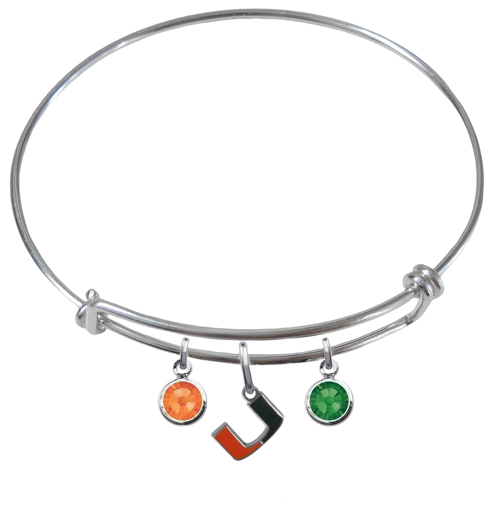 Miami Hurricanes NCAA Expandable Wire Bangle Charm Bracelet