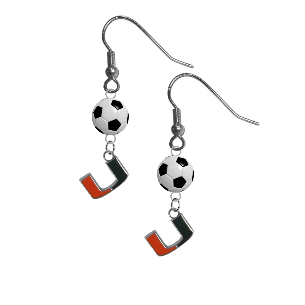 Miami Hurricanes NCAA Soccer Dangle Earrings