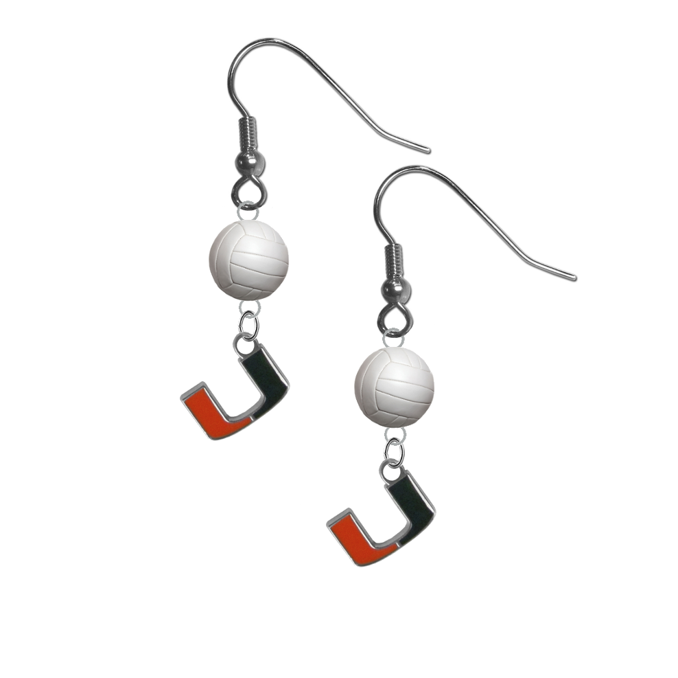 Miami Hurricanes NCAA Volleyball Dangle Earrings