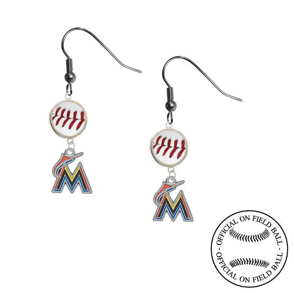 Miami Marlins MLB Authentic Rawlings On Field Leather Baseball Dangle Earrings