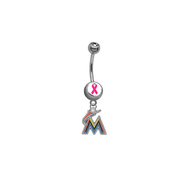 Miami Marlins Breast Cancer Awareness Belly Button Navel Ring