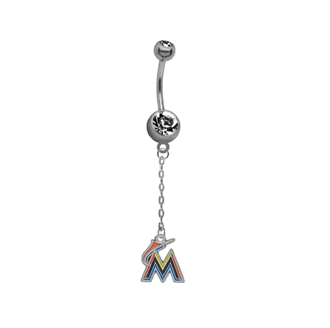 Miami Marlins Dangle Chain Belly Button Navel Ring