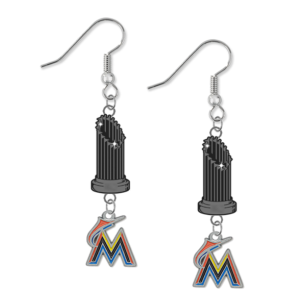 Miami Marlins MLB World Series Trophy Dangle Earrings