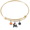 Miami Marlins Gold MLB Expandable Wire Bangle Charm Bracelet