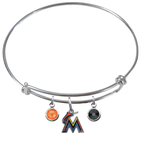Miami Marlins MLB Expandable Wire Bangle Charm Bracelet