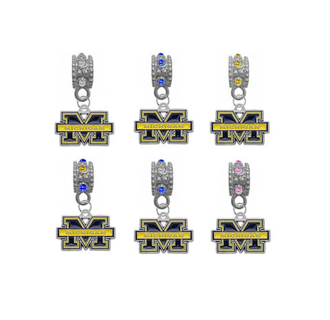 Michigan Wolverines NCAA Crystal Rhinestone European Bracelet Charm