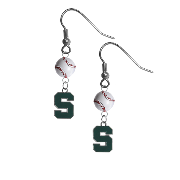 Michigan State Spartans NCAA Baseball Dangle Earrings