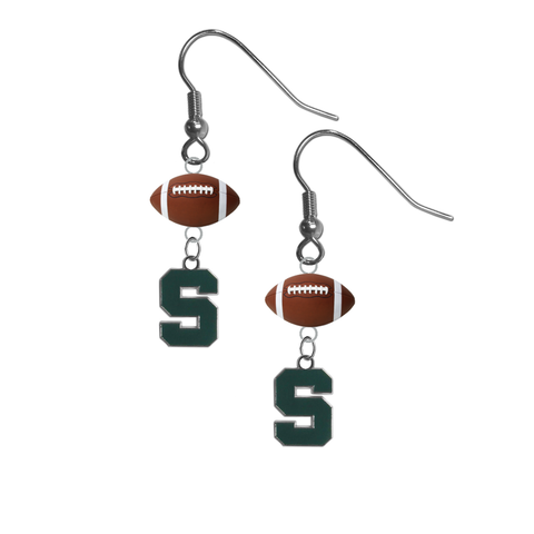 Michigan State Spartans NCAA Football Dangle Earrings