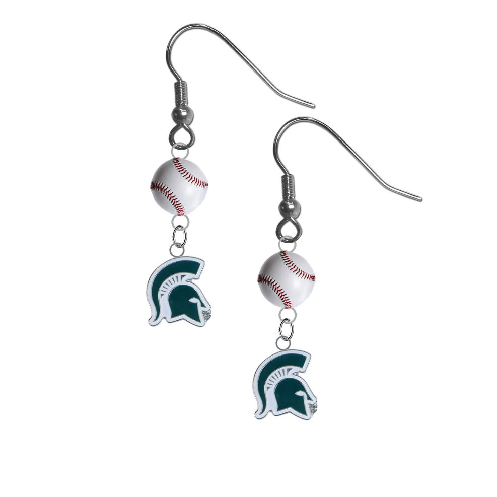 Michigan State Spartans Mascot NCAA Baseball Dangle Earrings
