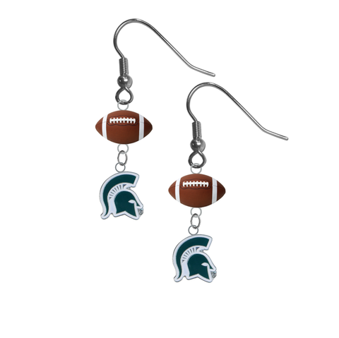 Michigan State Spartans Mascot NCAA Football Dangle Earrings