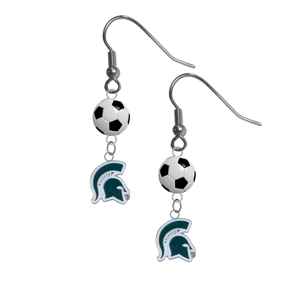 Michigan State Spartans Mascot NCAA Soccer Dangle Earrings