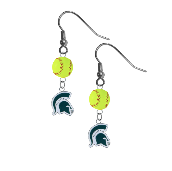 Michigan State Spartans Mascot NCAA Fastpitch Softball Dangle Earrings