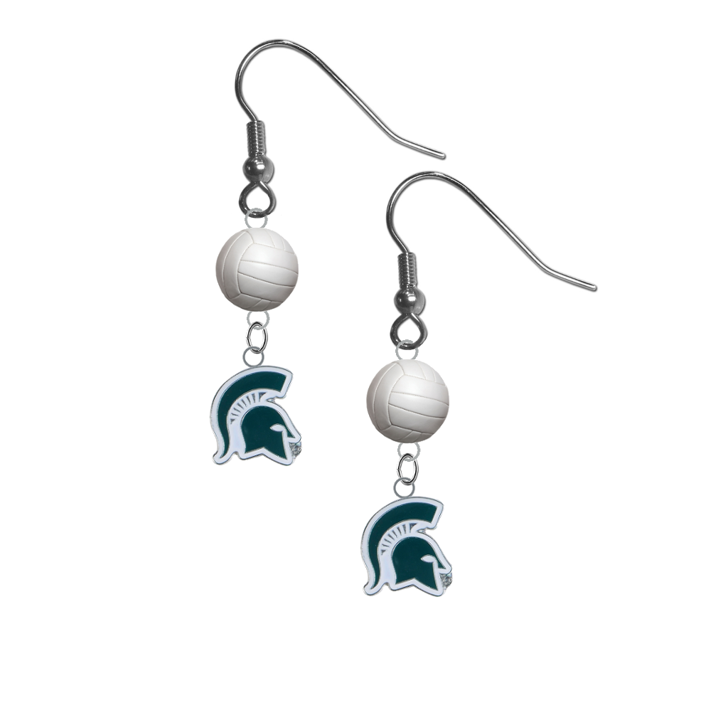 Michigan State Spartans Mascot NCAA Volleyball Dangle Earrings