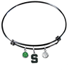 Michigan State Spartans BLACK Expandable Wire Bangle Charm Bracelet