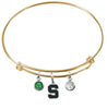 Michigan State Spartans GOLD Expandable Wire Bangle Charm Bracelet