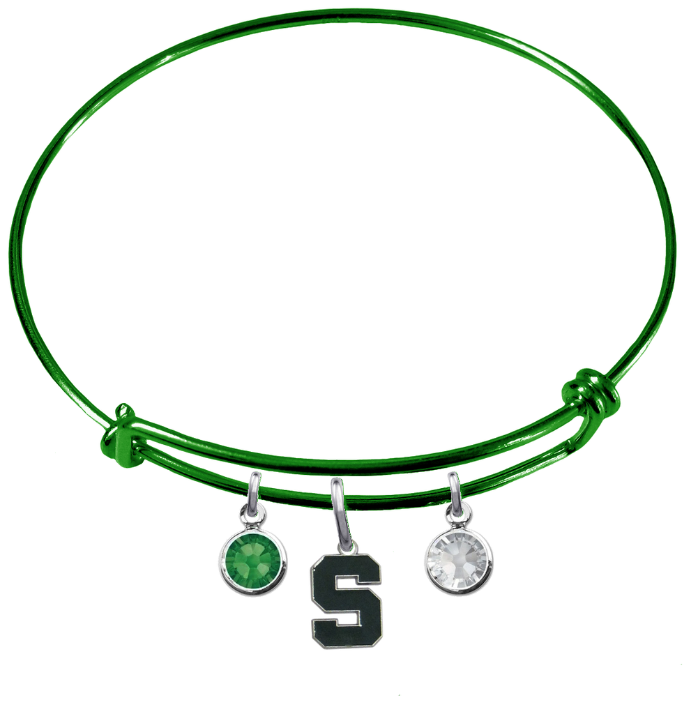 Michigan State Spartans GREEN Expandable Wire Bangle Charm Bracelet