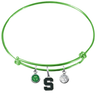 Michigan State Spartans LIME GREEN Expandable Wire Bangle Charm Bracelet