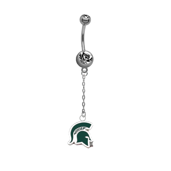 Michigan State Spartans Mascot Dangle Chain Belly Button Navel Ring