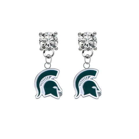 Michigan State Spartans Mascot CLEAR Swarovski Crystal Stud Rhinestone Earrings