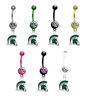 Michigan State Spartans Mascot NCAA College Belly Button Navel Ring - Pick Your Color