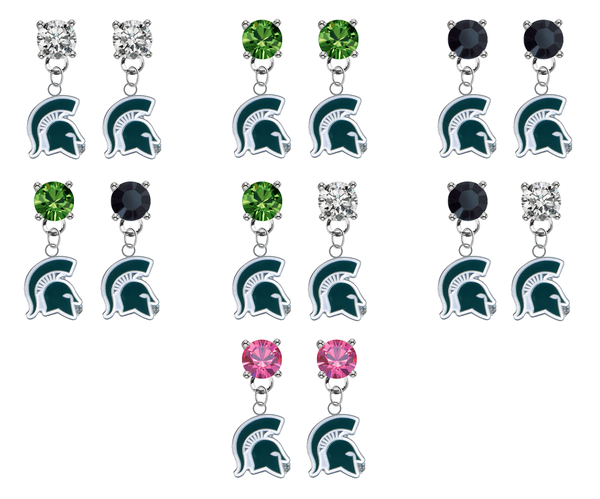 Michigan State Spartans Mascot NCAA Swarovski Crystal Stud Rhinestone Earrings