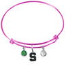 Michigan State Spartans PINK Expandable Wire Bangle Charm Bracelet