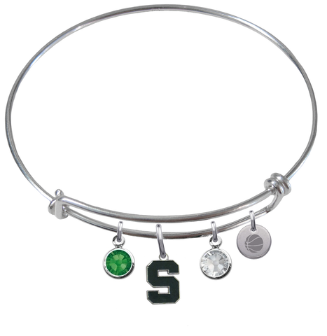 Michigan State Spartans Basketball Expandable Wire Bangle Charm Bracelet