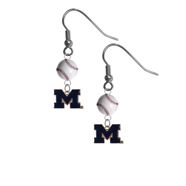 Michigan Wolverines Style 2 NCAA Baseball Dangle Earrings