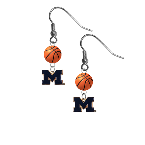 Michigan Wolverines Style 2 NCAA Basketball Dangle Earrings