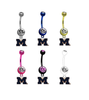 Michigan Wolverines Style 2 NCAA College Belly Button Navel Ring - Pick Your Color