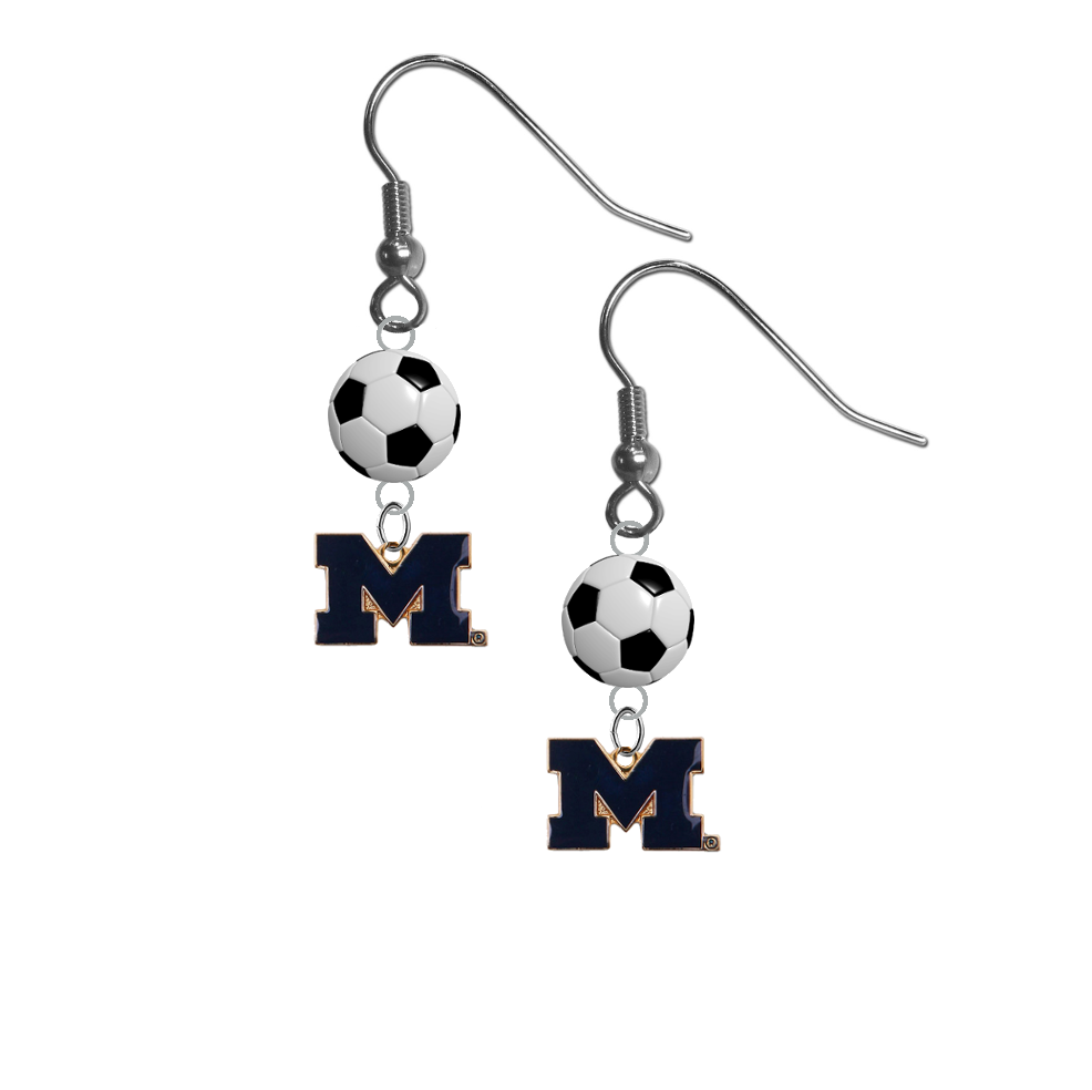 Michigan Wolverines Style 2 NCAA Soccer Dangle Earrings