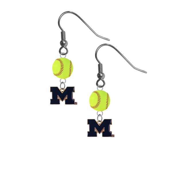 Michigan Wolverines Style 2 NCAA Fastpitch Softball Dangle Earrings