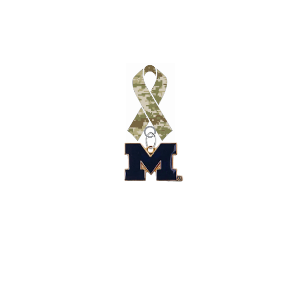 Michigan Wolverines Style 2 Salute to Service Military Appreciation Camo Ribbon Lapel Pin