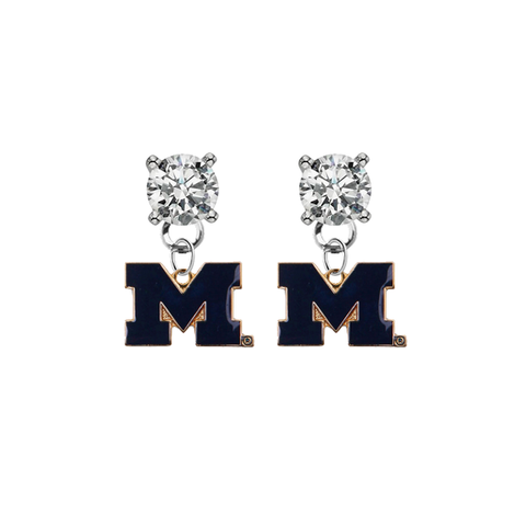 Michigan Wolverines 2 CLEAR Swarovski Crystal Stud Rhinestone Earrings