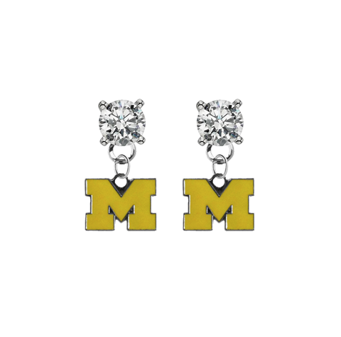 Michigan Wolverines 3 CLEAR Swarovski Crystal Stud Rhinestone Earrings