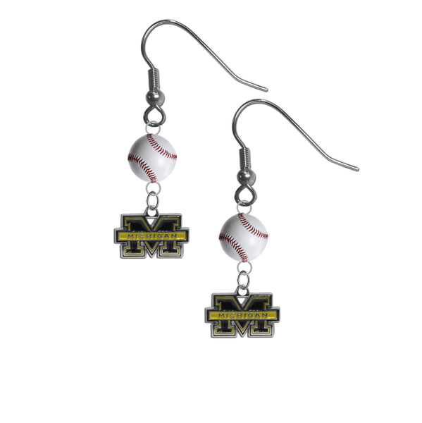 Michigan Wolverines NCAA Baseball Dangle Earrings