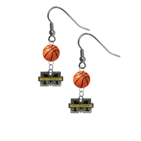 Michigan Wolverines NCAA Basketball Dangle Earrings