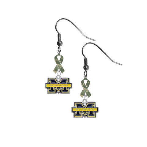 Michigan Wolverines Salute to Service Camouflage Camo Ribbon Dangle Earrings