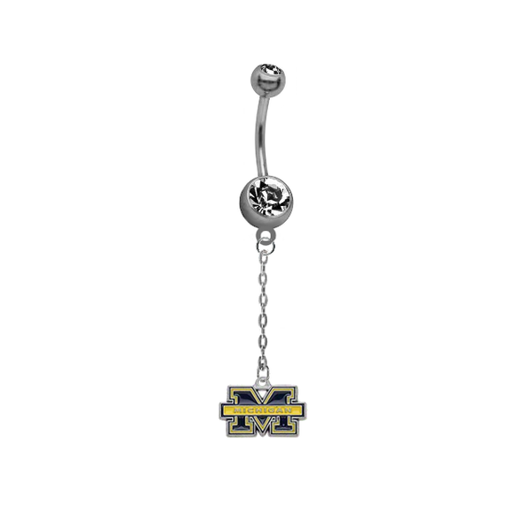 Michigan Wolverines Dangle Chain Belly Button Navel Ring