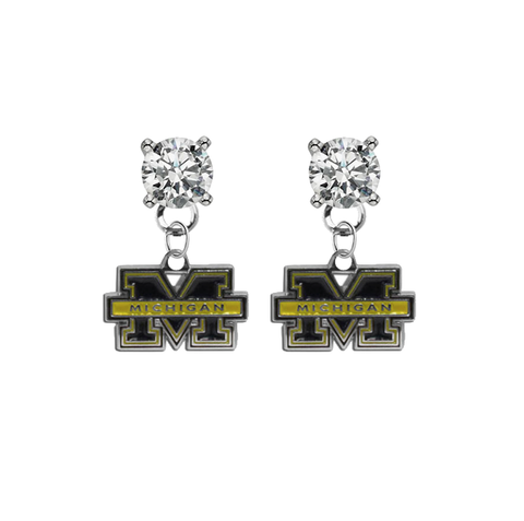 Michigan Wolverines CLEAR Swarovski Crystal Stud Rhinestone Earrings