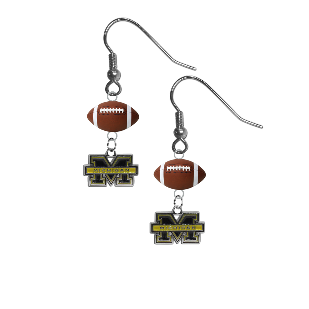 Michigan Wolverines NCAA Football Dangle Earrings