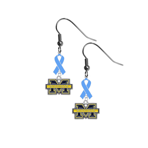 Michigan Wolverines Prostate Cancer Awareness Light Blue Ribbon Dangle Earrings