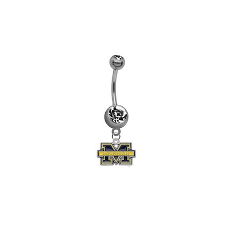 Michigan Wolverines SILVER College Belly Button Navel Ring