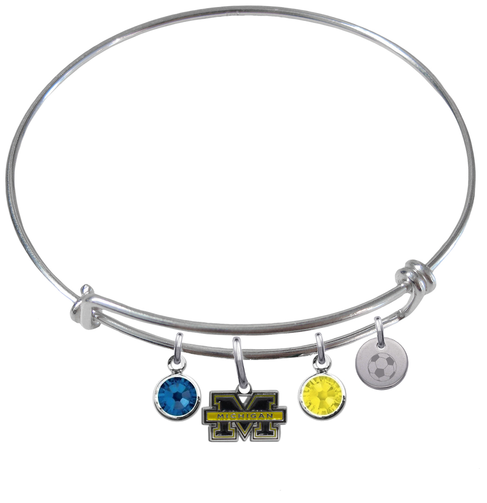 Michigan Wolverines Soccer Expandable Wire Bangle Charm Bracelet