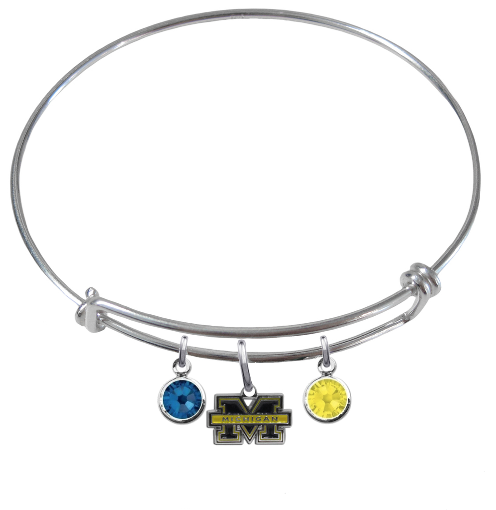 Michigan Wolverines NCAA Expandable Wire Bangle Charm Bracelet